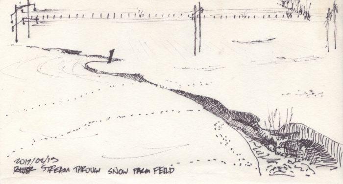 Stream Through Snowy Farm Field